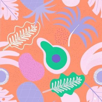 Kolaż współczesny kwiatowy wzór bez szwu. nowoczesne owoce i rośliny egzotycznej dżungli. kreatywnych liści wzór, ręcznie rysowane ilustracji wektorowych akwarela. druk monstera, wektor