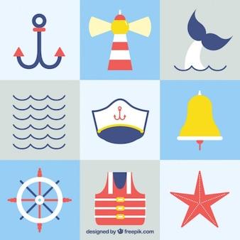 Kolaż z płaskich elementów żeglarskich