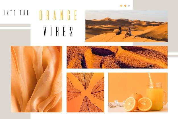 Kolaż zdjęć pomarańczowy projekt wibracji