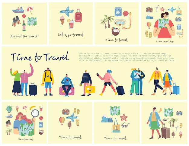 Kolaż zestaw symboli związanych z podróży samolot, lody, bagaż, koktajl, z wypuścić podróży ręcznie napisany tekst.