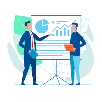 Koledzy, Którzy Prezentują Sprawozdanie Finansowe Premium Wektorów