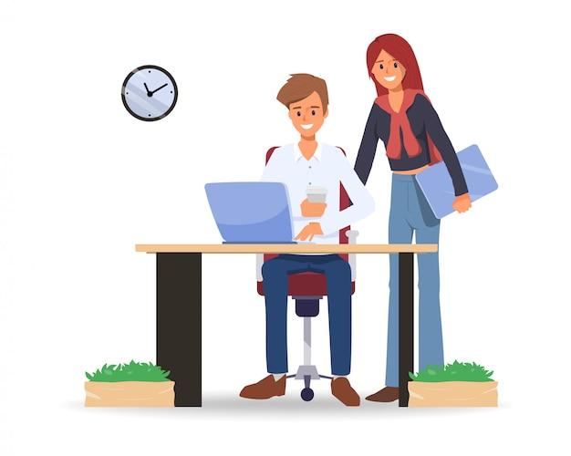 Koledzy ludzie biznesu co przestrzeni roboczej biura.