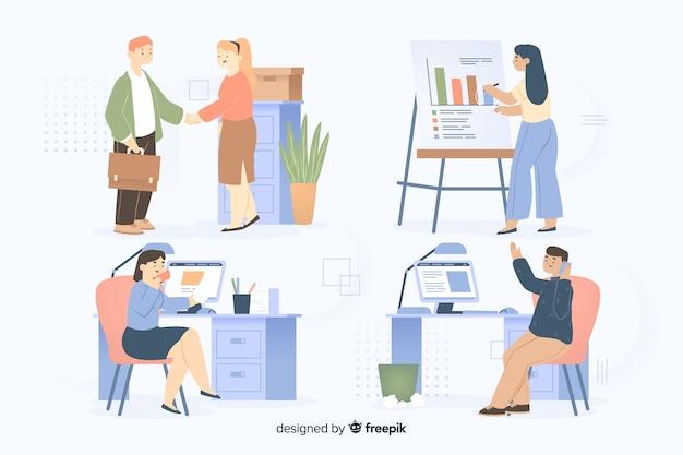 Koledzy pracujący razem w pakiecie biurowym