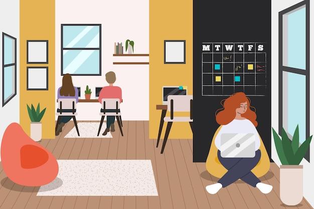 Koledzy pracujący w tym samym pokoju odręcznie rysowane
