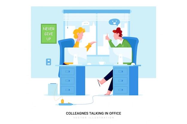 Koledzy rozmawiają w biurze