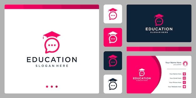Kolegium, absolwent, kampus, projektowanie logo edukacji. i loga czatu. wizytówka