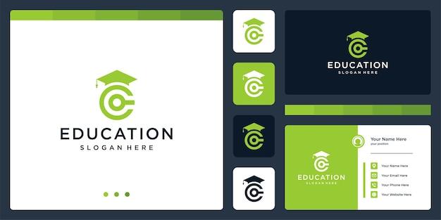 Kolegium, absolwent, kampus, projektowanie logo edukacji. i logo początkowa litera c. wizytówka