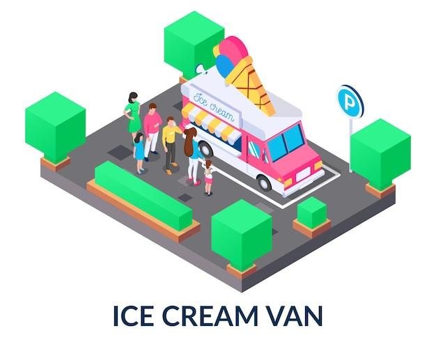 Kolejka do furgonetki z lodami ludzi różnej płci i wieku