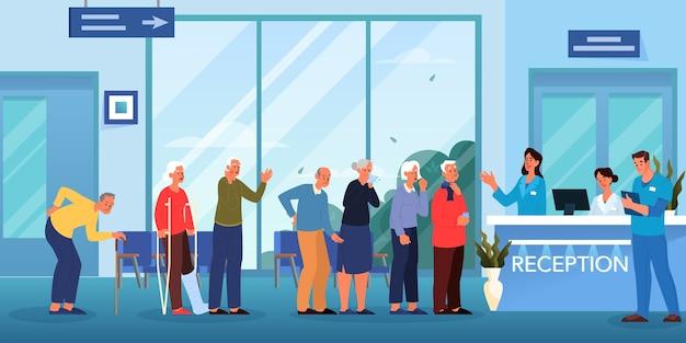 Kolejka do lekarza. poczekalnia w szpitalu. seniorzy czekają w kolejce na konsultację lekarską. wnętrze kliniki.