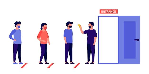Kolejka, kolejka ludzi czeka na wejście. kontrola temperatury ciała przed wejściem. grupa ludzi utrzymuje dystans z maskami oddechowymi. kolejka do wejścia, aby otworzyć.