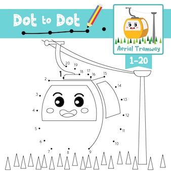 Kolejka linowa dot-dot gry i kolorowanka