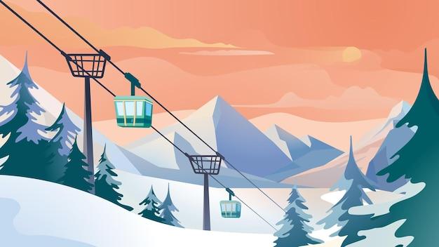 Kolejka linowa w górach w stylu płaskiej kreskówki