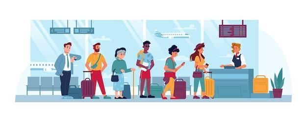 Kolejka na lotnisku, aby sprawdzić osoby z biletami