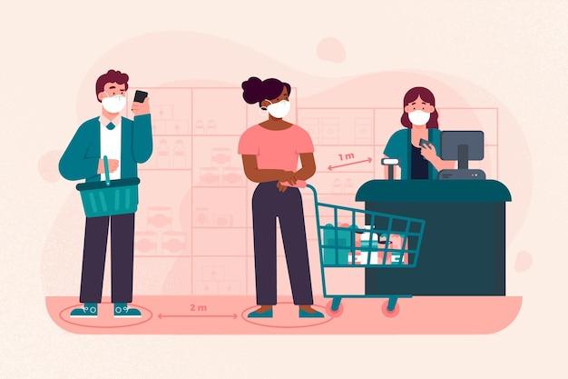 Kolejka supermarketów z bezpieczną odległością