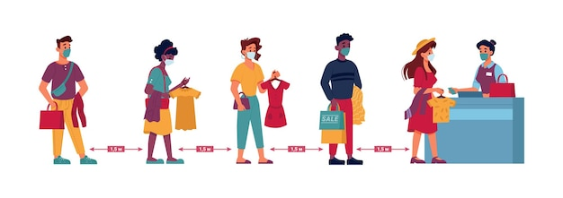 Kolejka w sklepie odzieżowym ludzie dystans społeczny