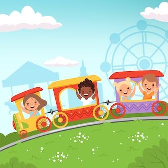 Kolejki górskie dla dzieci. przyciąganie dzieci jadące w parku rozrywki akcja kreskówki