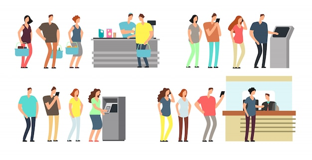 Kolejki ludzi wektor zestaw. mężczyzna i kobieta stoi w kolejce przy atm, terminalem i bankiem