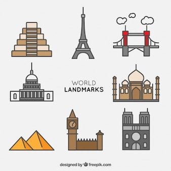 Kolekcja świata landmark z konturem