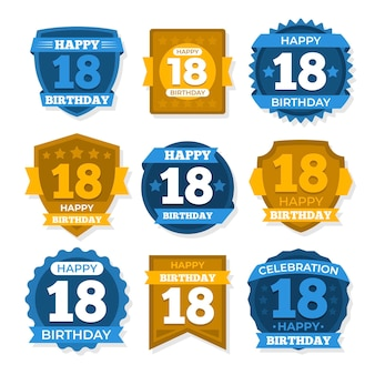 Kolekcja 18 odznak urodzinowych