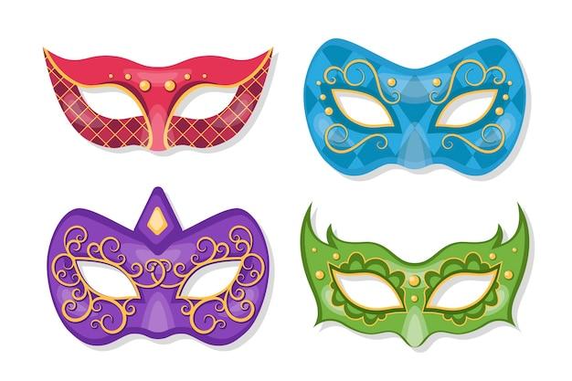 Kolekcja 2d weneckie piękne maski karnawałowe