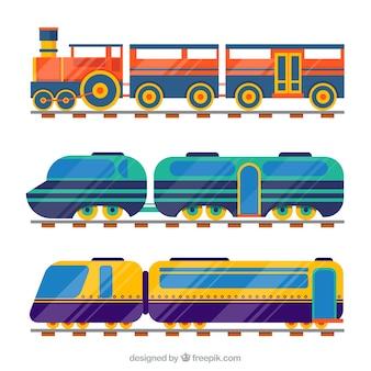 Kolekcja 3 rodzajów pociągów