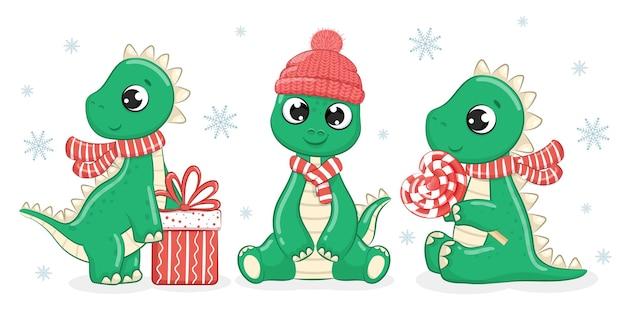 Kolekcja 3 uroczych dinozaurów na nowy rok. ilustracja kreskówka wektor.