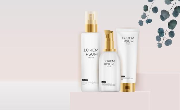 Kolekcja 3d realistyczne pastelowe kremowe butelki szablon projektu produktu mody kosmetyki