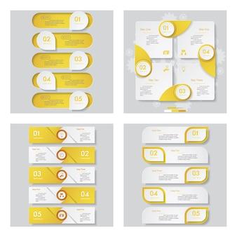Kolekcja 4 żółty kolor szablonu projektu.