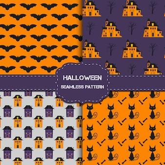 Kolekcja 4 wzorów halloween z niekończącą się teksturą. tło wektor może służyć do tapety, wypełnienia, strony internetowej, powierzchni, notatnik, kartka świąteczna, zaproszenia i projektowanie stron.