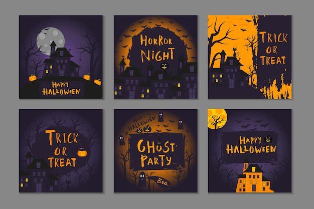 Kolekcja 6 szczęśliwych plakatów halloween z tradycyjnymi symbolami i ręcznie rysowane napisy. ilustracja wektorowa może służyć do projektowania tapety, strony internetowej, kartki świątecznej, zaproszenia i partii.