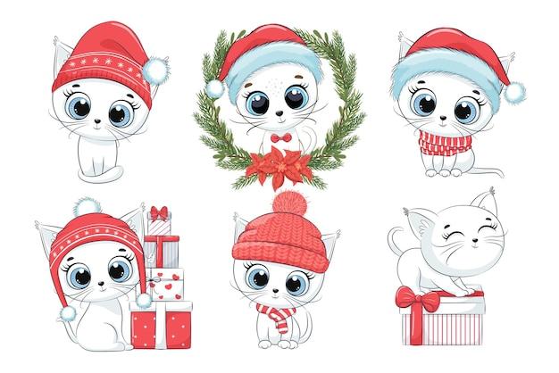 Kolekcja 6 uroczych białych kociąt na nowy rok i boże narodzenie. ilustracja wektorowa kreskówki. wesołych świąt.