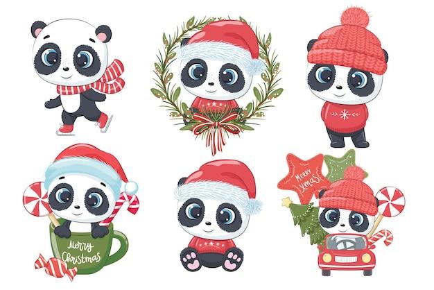 Kolekcja 6 uroczych pand na nowy rok i boże narodzenie. ilustracja wektorowa kreskówki. wesołych świąt.