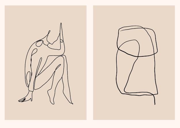 Kolekcja abstrakcyjna z liniową, minimalistyczną sylwetką kobiety i nowoczesną grafiką wektorową