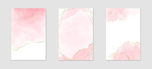 Kolekcja abstrakcyjne zakurzone różowe płynne tło akwarela ze złotymi liniami i wielokątną ramą
