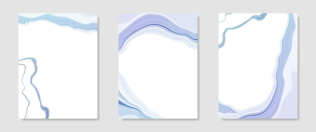 Kolekcja abstrakcyjnego niebieskiego płynnego marmurkowego tła akwareli