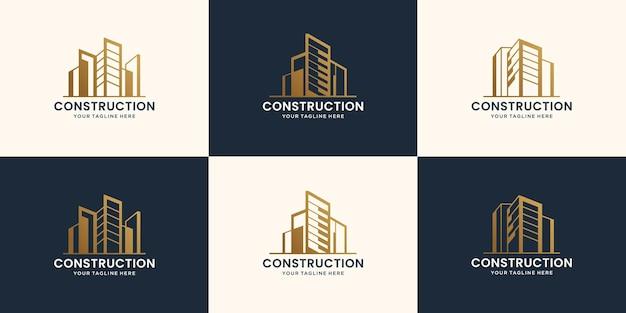 Kolekcja abstrakcyjnych budynków budowlanych i szablonów projektów logo architektonicznych premium wektorów
