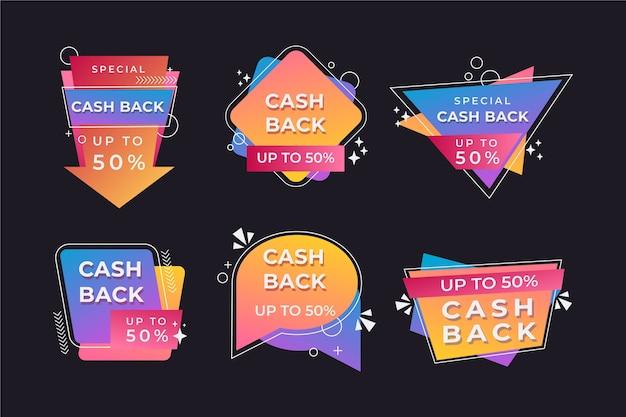 Kolekcja abstrakcyjnych etykiet cashback