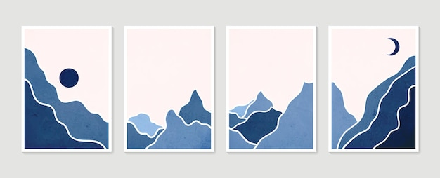 Kolekcja abstrakcyjnych górskich współczesnych estetycznych krajobrazów. nowoczesny minimalistyczny druk artystyczny