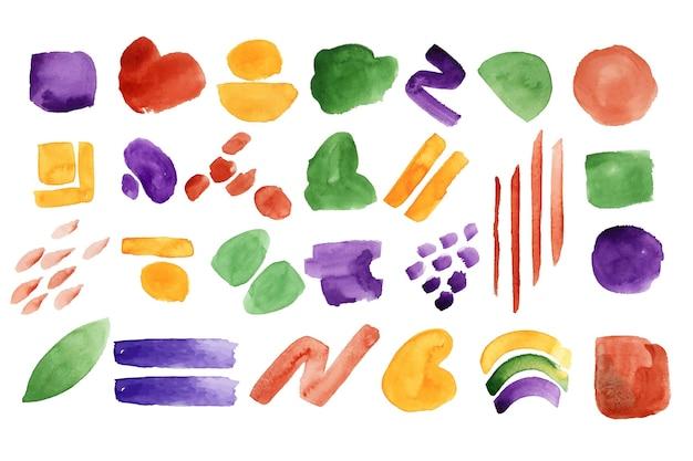 Kolekcja abstrakcyjnych kształtów akwarela