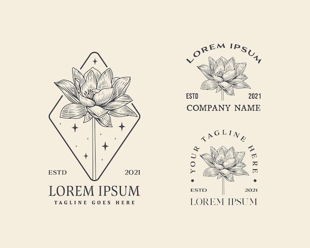 Kolekcja abstrakcyjnych kwiatów, znaków wektorowych lub szablonów logo retro ilustracja kwiatowa z klasą