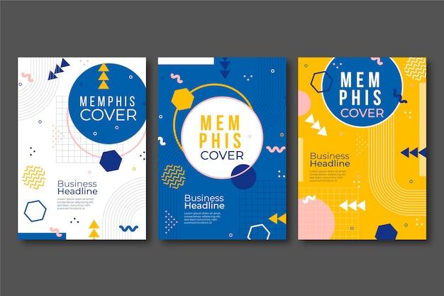Kolekcja abstrakcyjnych okładek projektu memphis