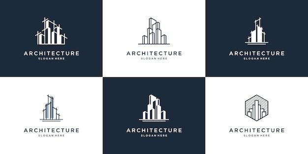 Kolekcja abstrakcyjnych projektów budowlanych i architektonicznych logo
