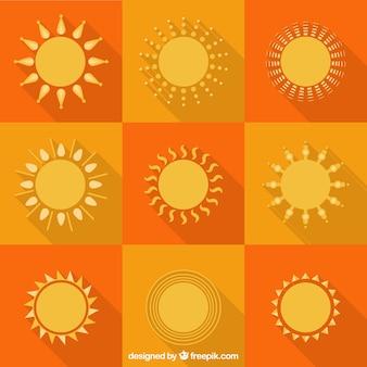Kolekcja abstrakcyjnych słońc