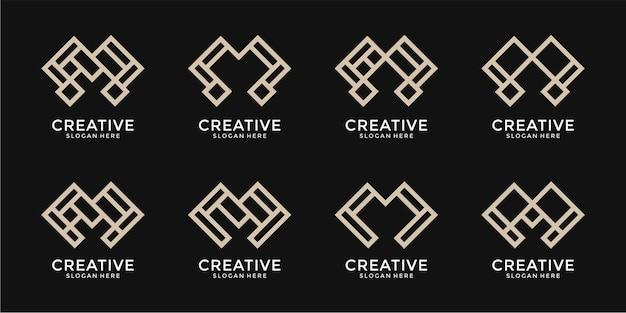 Kolekcja abstrakcyjnych wzorów logo litery m