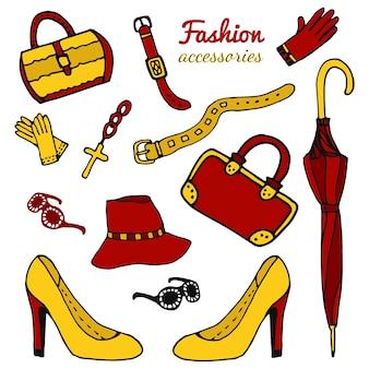 Kolekcja akcesoriów dla kobiet, zestaw fashion. ręcznie rysowane wektor na białym tle.