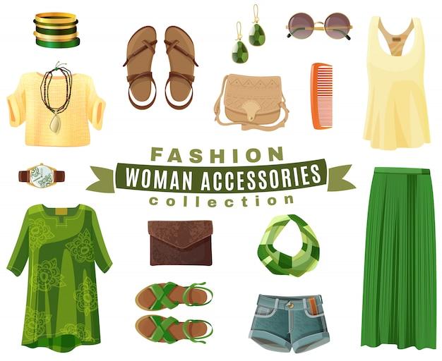 Kolekcja akcesoriów mody kobieta