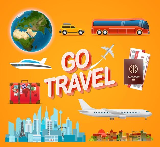 Kolekcja akcesoriów podróżniczych. idź koncepcja podróży