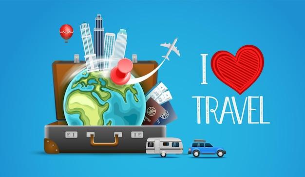 Kolekcja akcesoriów podróżniczych