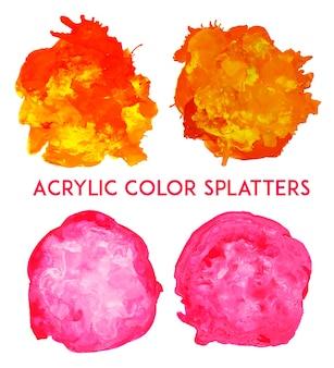 Kolekcja akrylowych splatterów kolorowych