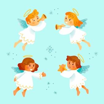 Kolekcja akwarela anioła bożego narodzenia